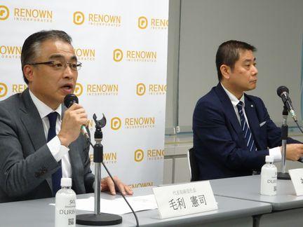 レナウン・毛利憲司社長(左)と前社長の神保佳幸氏(3月)